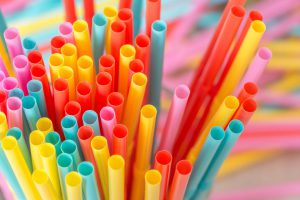 Rainbow colors plastic straws
